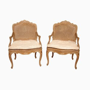 Louis XV Style Cream Lacquered Wood Armchairs, 1880s, Set of 2
