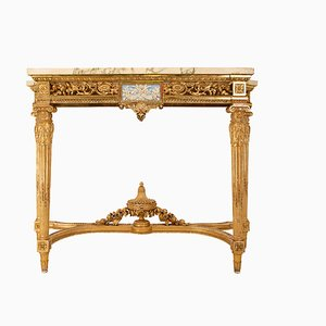 Antique Louis XVI Gilt Wood & Marble Console Table