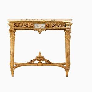 Consola Luis XVI antigua de madera dorada y mármol