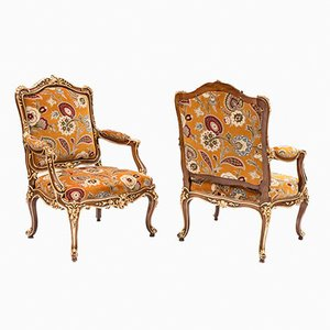 Louis XV Armlehnstühle aus vergoldetem Nussholz, 1950er, 2er Set