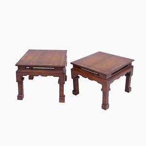 Mesas auxiliares de madera lacada, años 50. Juego de 2