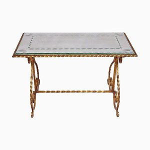Table Console en Verre et Fer Forgé Doré, années 50