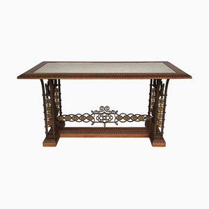 Wrought Iron & Mahogany Console Table, 1950s
