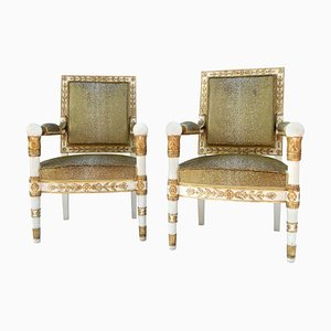 White and Gold Armchairs, 1950s, Set of 2