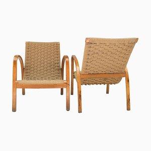 Armlehnstühle aus Buche & geflochtenem Seil, 1960er, 2er Set