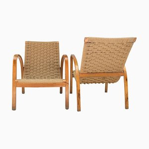 Rope and Beech Armchairs, 1960s, Set of 2