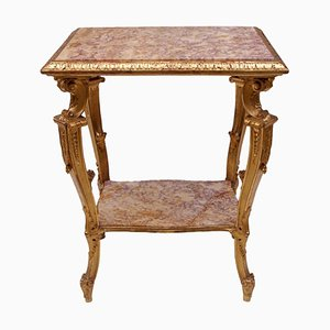 Antique Italian Marble & Giltwood Side Table, 1800s