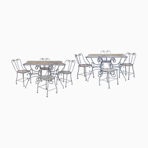 19th-Century Light Grey Wrought Iron Garden Tables and Chairs Set