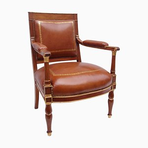 19th-Century Empire Mahogany and Leather Armchair