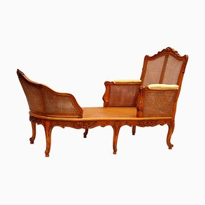 Vintage Regency Style Cane and Wood Modular Chaise Lounge, 1950s