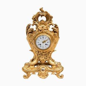 Reloj estilo rococó de bronce dorado de Benoît Félix Richond, siglo XIX