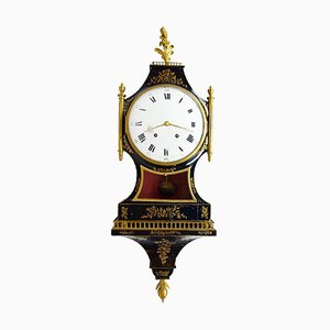 Antique Lacquered Wood Cartel Clock from Neuchâtel