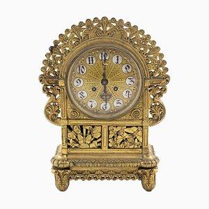 Horloge Art Nouveau Ancienne en Bronze Doré
