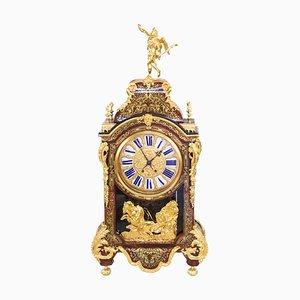 Reloj de pared francés estilo Regencia antiguo con marquetería de Boulle, década de 1870