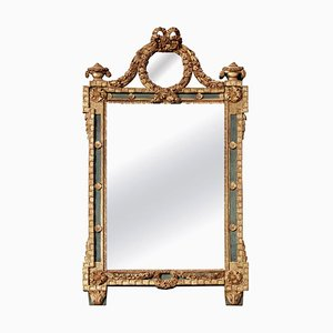 Grand Miroir Ancien Louis XVI en Bois Doré