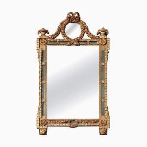 Großer antiker Louis XVI Spiegel mit vergoldetem Holzrahmen