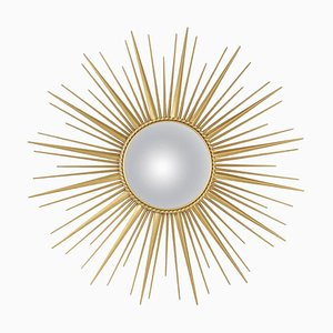 Sunburst Gilt Brass Mirror from Chaty Vallauris, 1960s