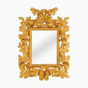 Großer antiker Rokoko Spiegel mit Rahmen aus geschnitztem & vergoldetem Holz