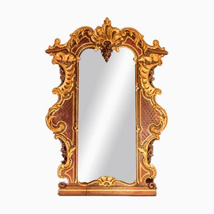 Espejo estilo rococó grande de roble pintado y pintado, década de 1900
