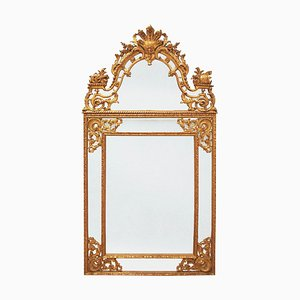 Espejo estilo Regency grande de madera tallada y dorada, década de 1900