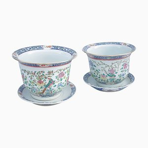 Chinese Porcelain Planters with Saucers, 1900s, Set of 2