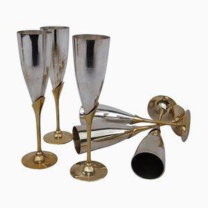 Copas de champán vintage doradas y plateadas, años 70