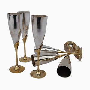 Vintage Gilt and Silver Champagne Flutes, 1970s