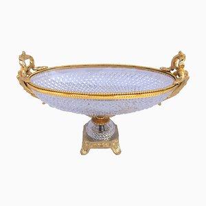 Ovale Schale aus geschliffenem Kristallglas, 1950er