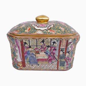 Caja antigua de porcelana, década de 1900