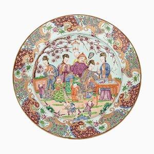 Plato antiguo de porcelana rosa