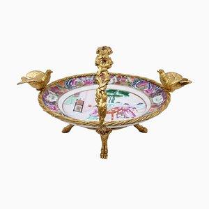 Tafelaufsatz aus Porzellan & vergoldeter Bronze, 19. Jh.