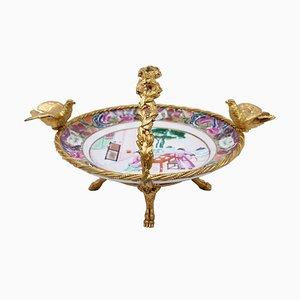 Milieu de Table en Bronze Doré et en Porcelaine, 19e Siècle
