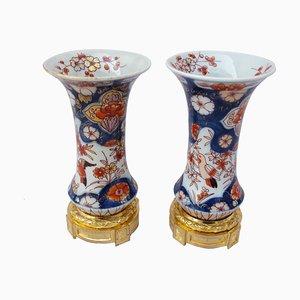 Jarrones Imari antiguos de porcelana. Juego de 2