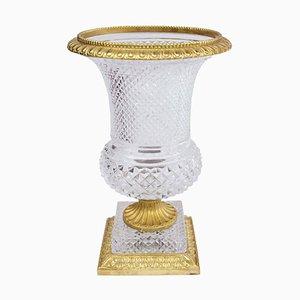 Antike Medici Vase aus Kristallglas & vergoldeter Bronze