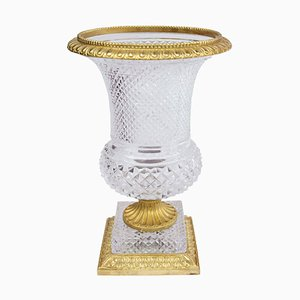 Jarrón Medici antiguo de bronce dorado y cristal