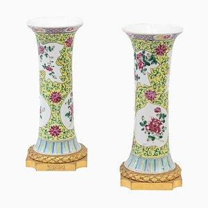 Pinke antike Porzellanvasen in Gu-Form, 2er Set