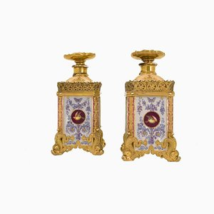 Antique Polychrome Enameled Porcelain Flasks by Jacob Petit, 1840s, Set of 2