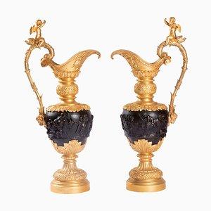 Antike Wasserkannen aus patinierter Bronze, 2er Set