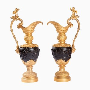 Antique Patinated Bronze Ewers, Set of 2