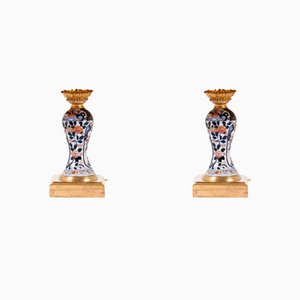 Antique Imari Porcelain Lamps, Set of 2