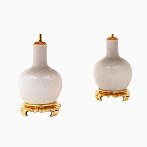 Lampade da tavolo in porcellana e legno dorato, anni '70, set di 2