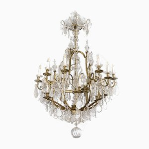 Mid-Century Louis XV Style Brass and Crystal Chandelier from Baccarat, 1950s