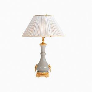 Lámpara estilo Luis XVI antigua de porcelana craquelada, década de 1880