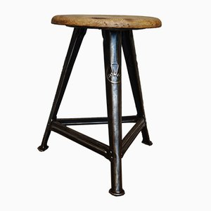 German Industrial Metal & Wood Stool by Robert Wagner for Rowac, 1930s