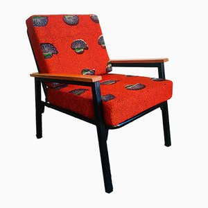 Mid-Century Red and Flower Upholstery Armchair, 1960s