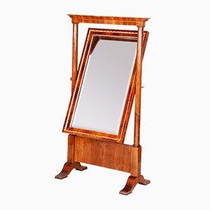 Specchio antico Biedermeier a figura intera inclinabile in legno di noce, Austria