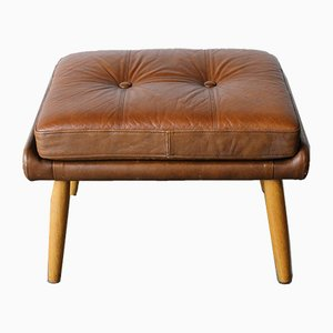 Vintage Danish Leather Stool by Svend Skipper for Skipper, 1960s