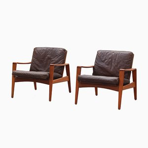 Teak Lounge Chairs by Arne Wahl Iversen for Komfort, 1960s, Set of 2