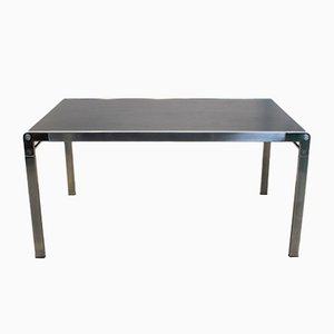 Table de Salle à Manger TE21 Minimaliste en Aluminium et Chêne Noir par Claire Bataille & Paul Ibens pour 't Spectrum, 1970s
