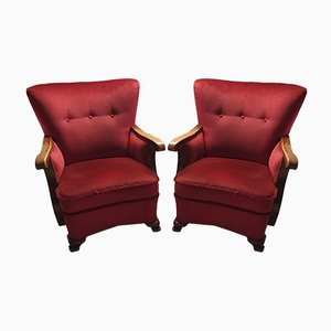 Art Deco Wing Back Red Velvet Armchairs, 1930s, Set of 2